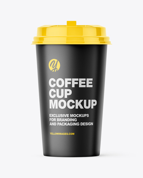 Big Matte Paper Coffee Cup With Plastic Cap Mockup - Front View