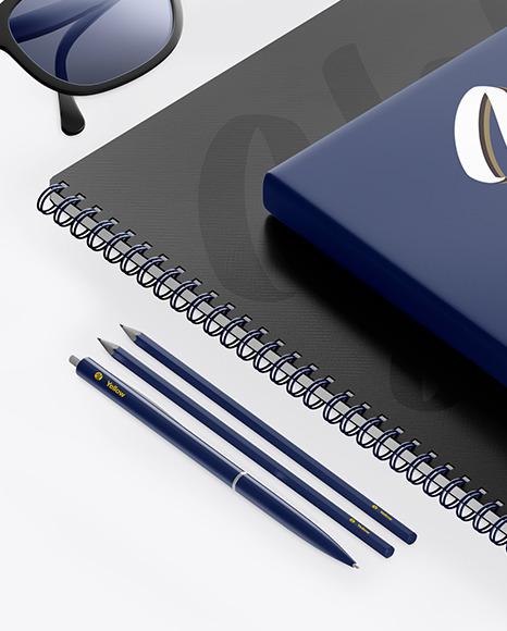 Notebook & Paper W/ Pens Mockup