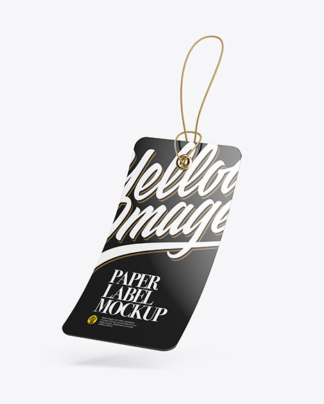 Glossy Hang Tag Label With Round Corners Mockup