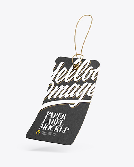 Textured Hang Tag Label With Round Corners Mockup