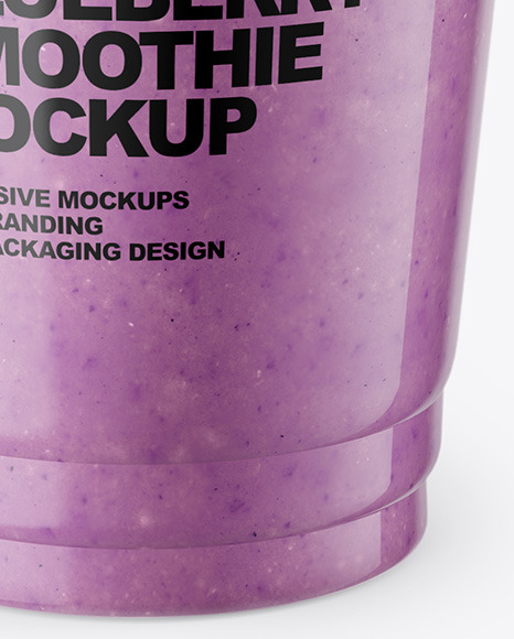 Blueberry  Smoothie Cup with Straw Mockup