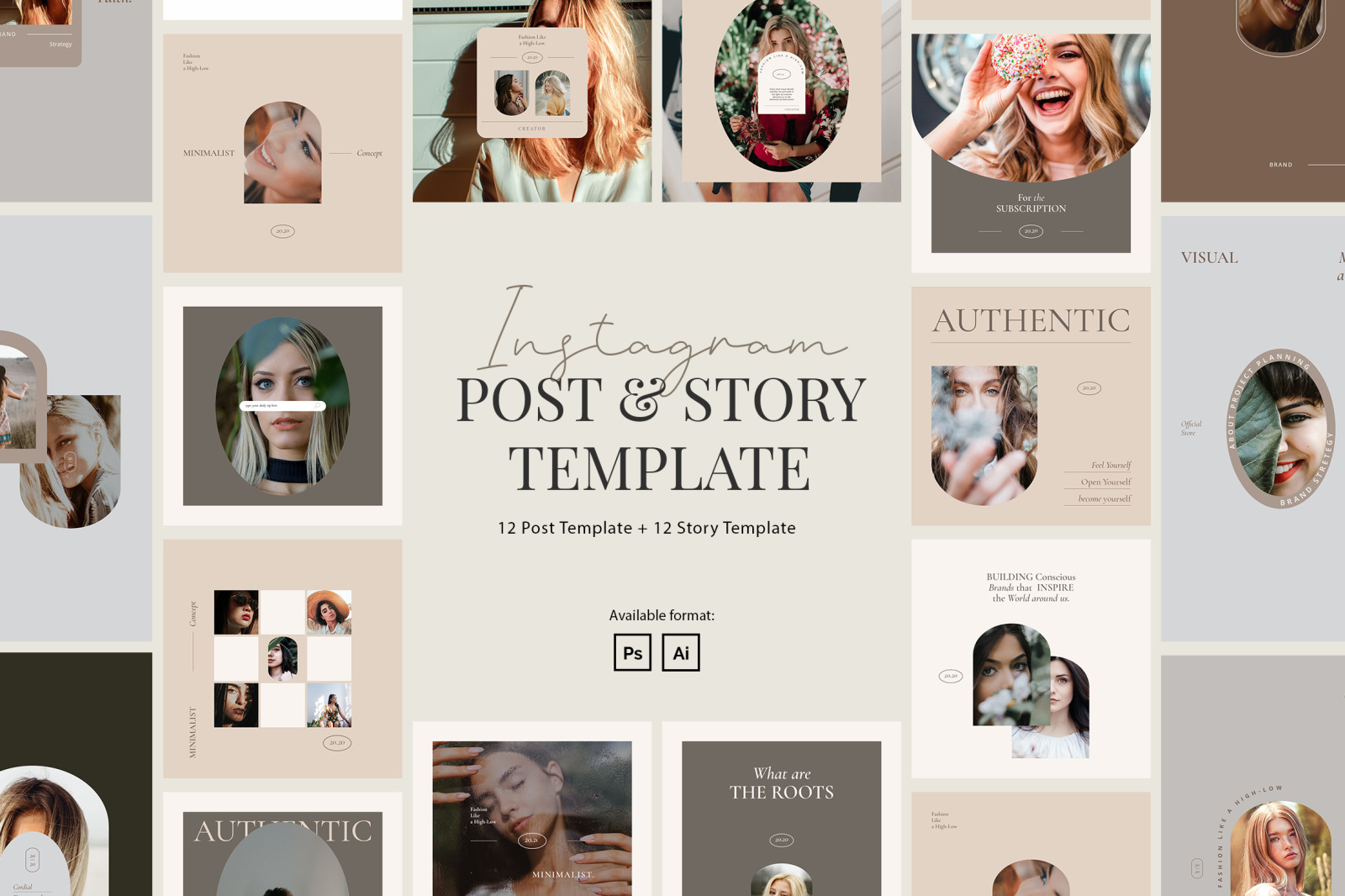 Minimalist Writer Instagram Post and Story Template
