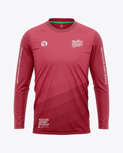Men's Crew Neck Long Sleeve Soccer Jersey Mockup - Front View