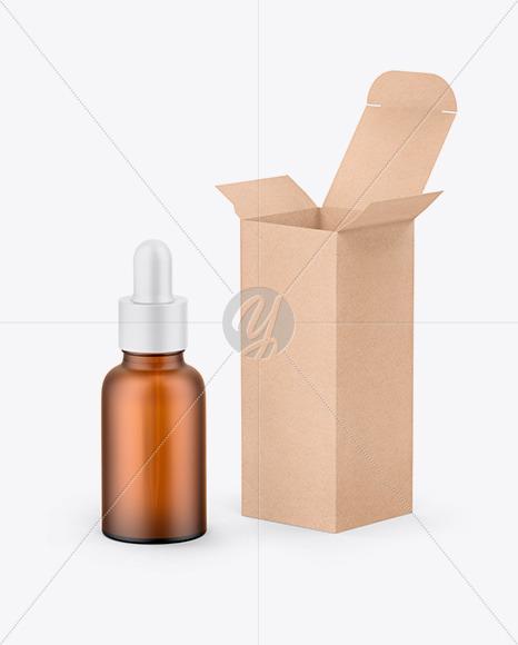 Kraft Box W/ Amber Dropper Bottle Mockup