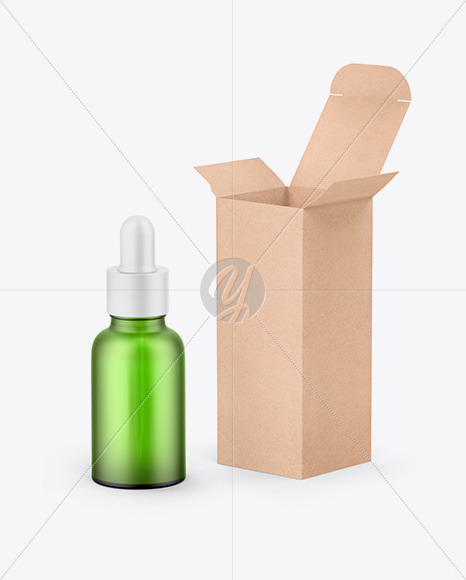 Kraft Box W/ Green Dropper Bottle Mockup