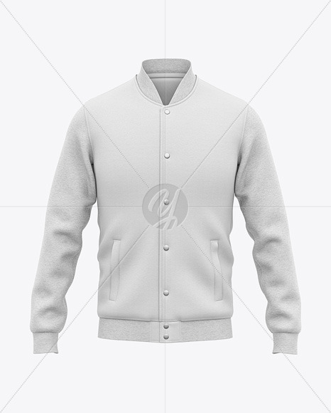 Men's Heather Varsity Jacket Mockup - Front View
