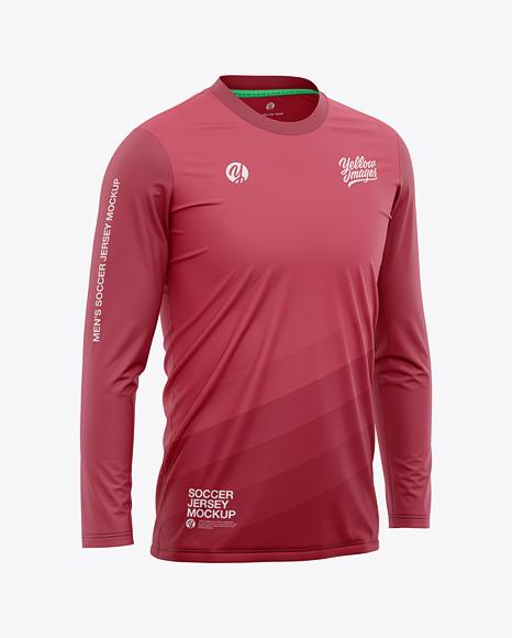 Men's Crew Neck Long Sleeve Soccer Jersey Mockup - Half Side View