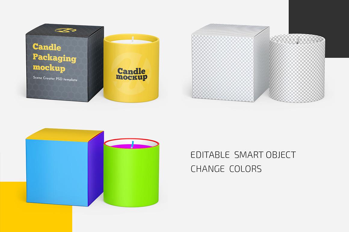 Candle Box Mockup Set