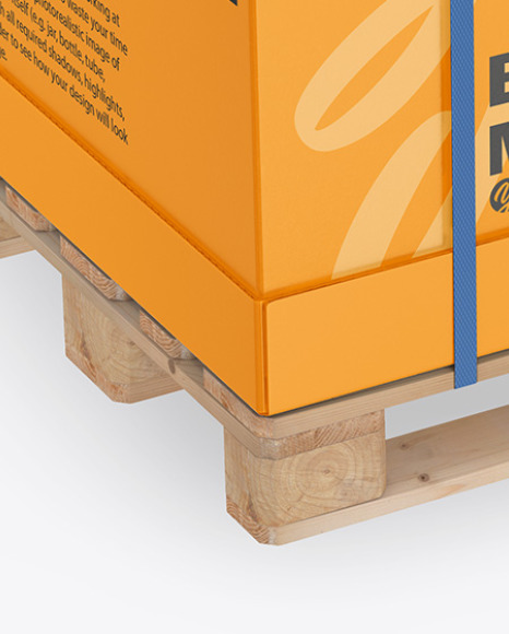 Wooden Pallet With Carton Box Mockup - Half Side View