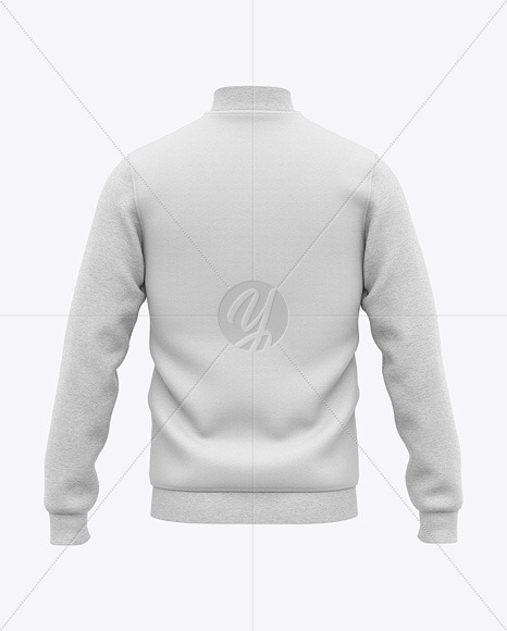 Men's Heather Varsity Jacket Mockup - Back View