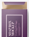 Matte Paper Carton Box With Soap Bar Mockup - Top View