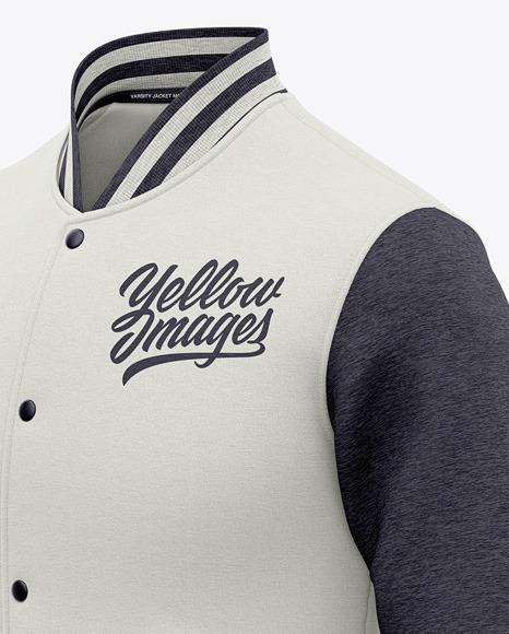 Men's Heather Varsity Jacket Mockup - Front Half Side View