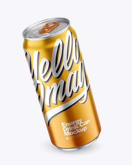 440ml Matte Metallic Drink Can Mockup