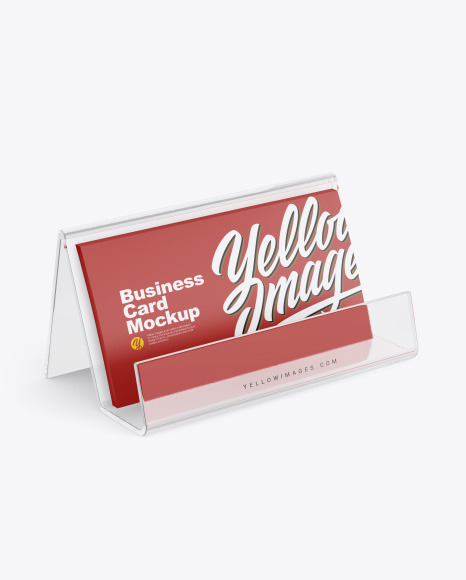 Business Cards with Transparent Holder Mockup