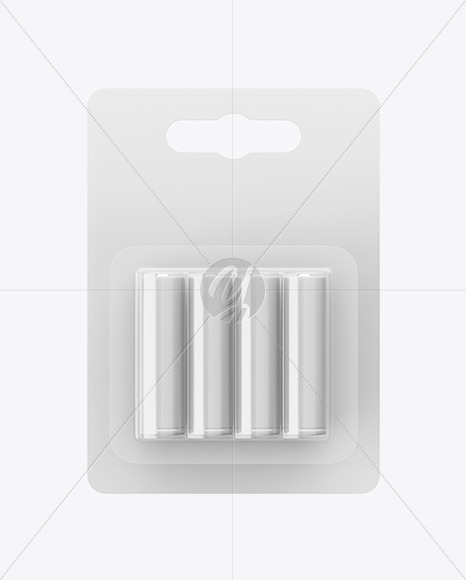 Download 4 Pack Battery Aa Mockup Front View In Packaging Mockups On Yellow Images Object Mockups PSD Mockup Templates