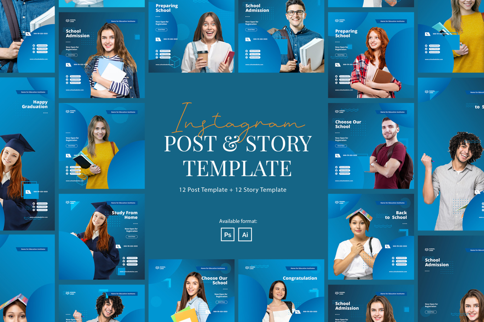 Elegant School Instagram Post and Story Template