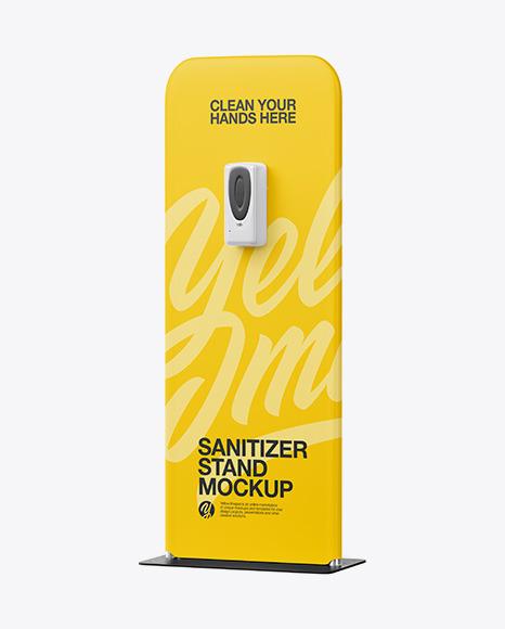 Hand Sanitizer Stand Mockup - Half Side View