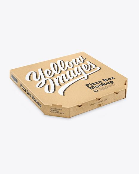 Kraft Pizza Box Mockup - Half Side View