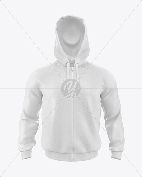 Men's Hoodie with Zipper Mockup - Front View