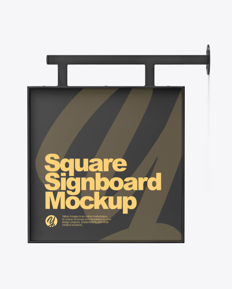Plastic Square Signboard Mockup
