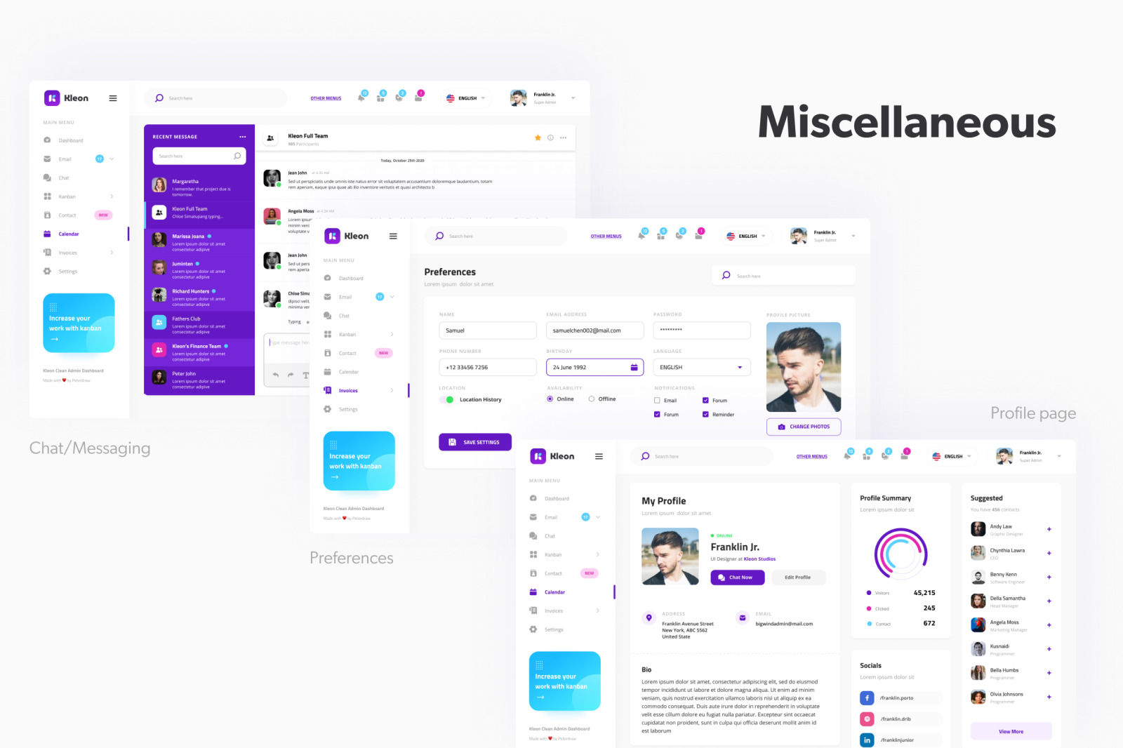 Kleon - Clean Admin Panel Dashboard UI Template