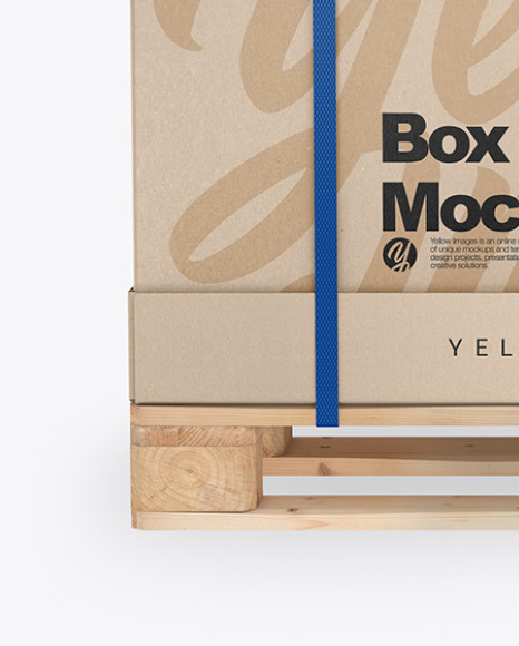 Wooden Pallet With Carton Box Mockup