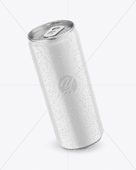 330ml Metallic Drink Can With Matte Finish And Condensation Mockup