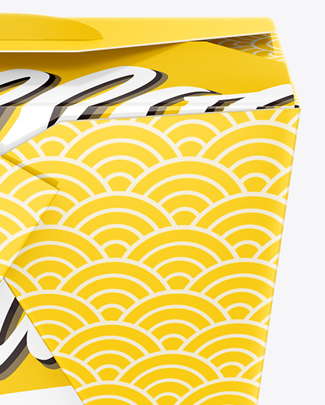 Download Glossy Paper Noodles Box Mockup Side View High Angle Shot In Box Mockups On Yellow Images Object Mockups