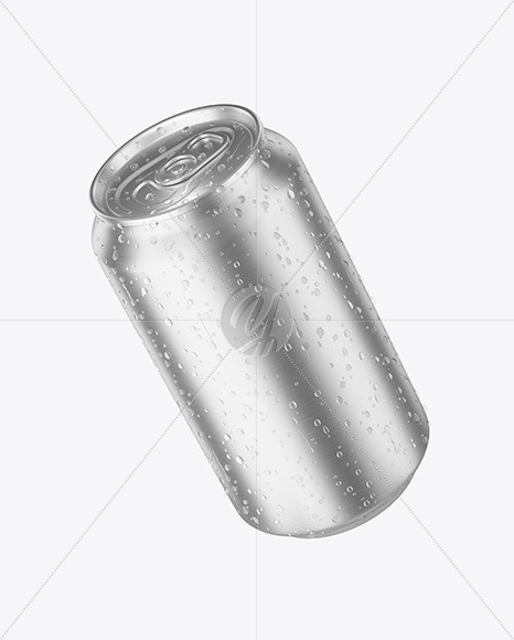 Aluminium Can With Water Drops Mockup