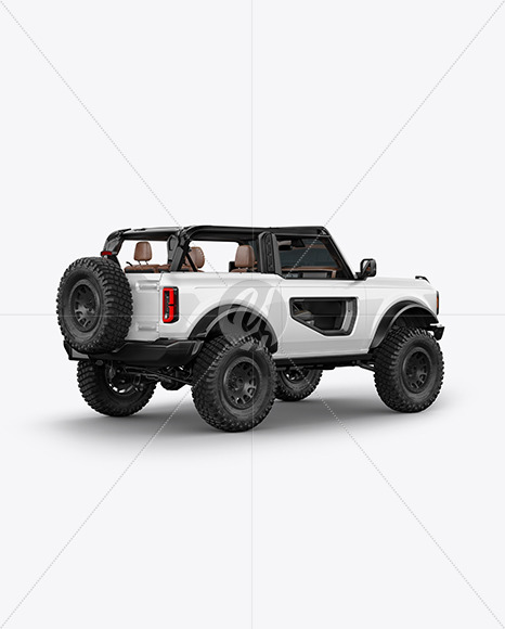 Off-Road SUV Open Roof Mockup - Back Half Side View - Yellowimages Mockups