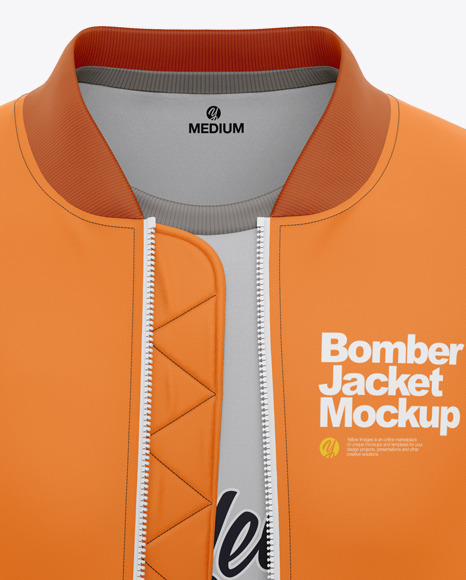 Men's Bomber Jacket with T-shirt Mockup - Front View