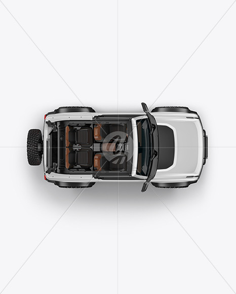 Off-Road SUV Open Roof Mockup - Top View - Yellowimages Mockups