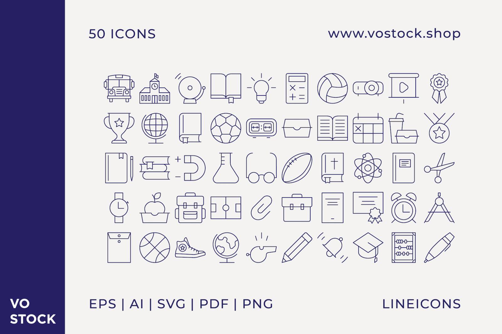 50 School Icons