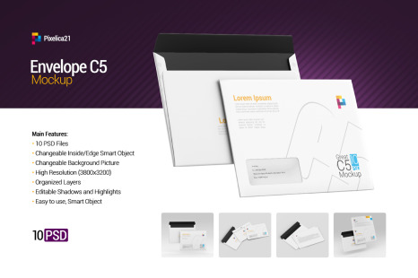 Download Envelope C5 C6 Mockup In Stationery Mockups On Yellow Images Creative Store PSD Mockup Templates
