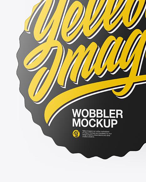 Glossy Wobbler Mockup Half Side View