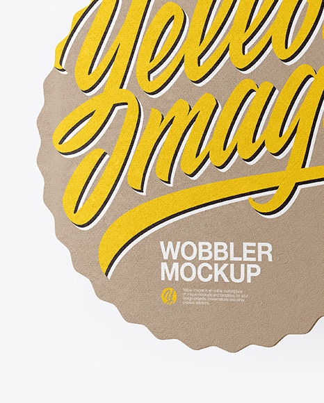 Textured Wobbler Mockup Half Side View