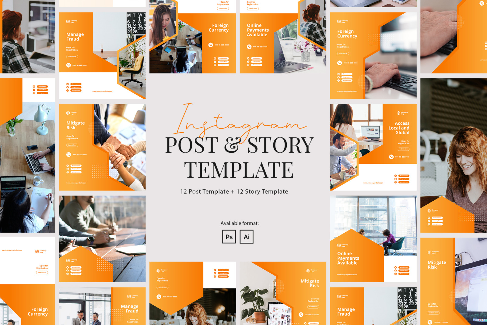Elegant Company Instagram Post and Story Template