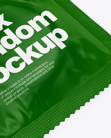 Matte Condom Packaging Mockup - Half Side View