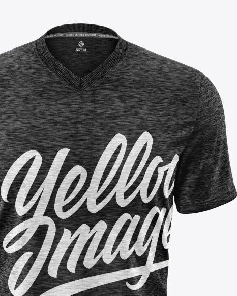 Melange Men's V-Neck T-Shirt Mockup
