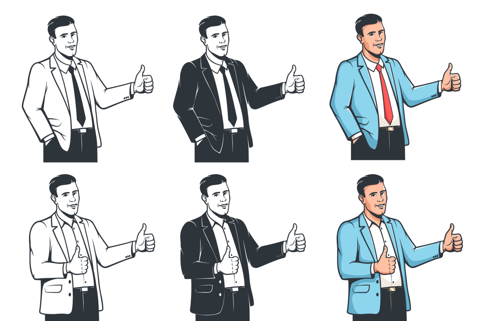Positive Businessman with Thumbs Up