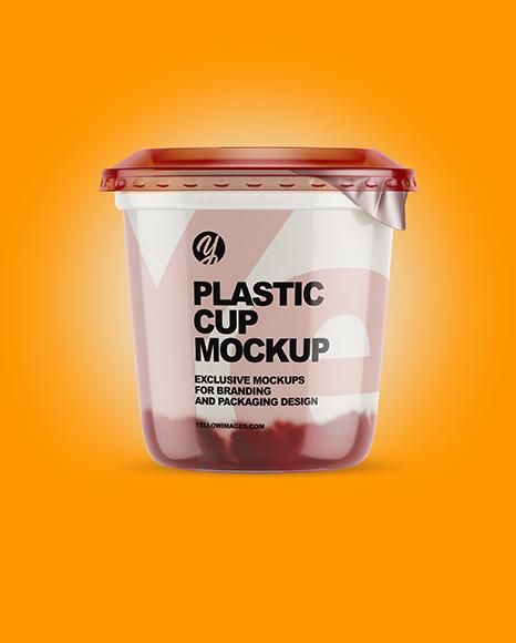 Plastic Cup with Yogurt and Cherries Jam Mockup