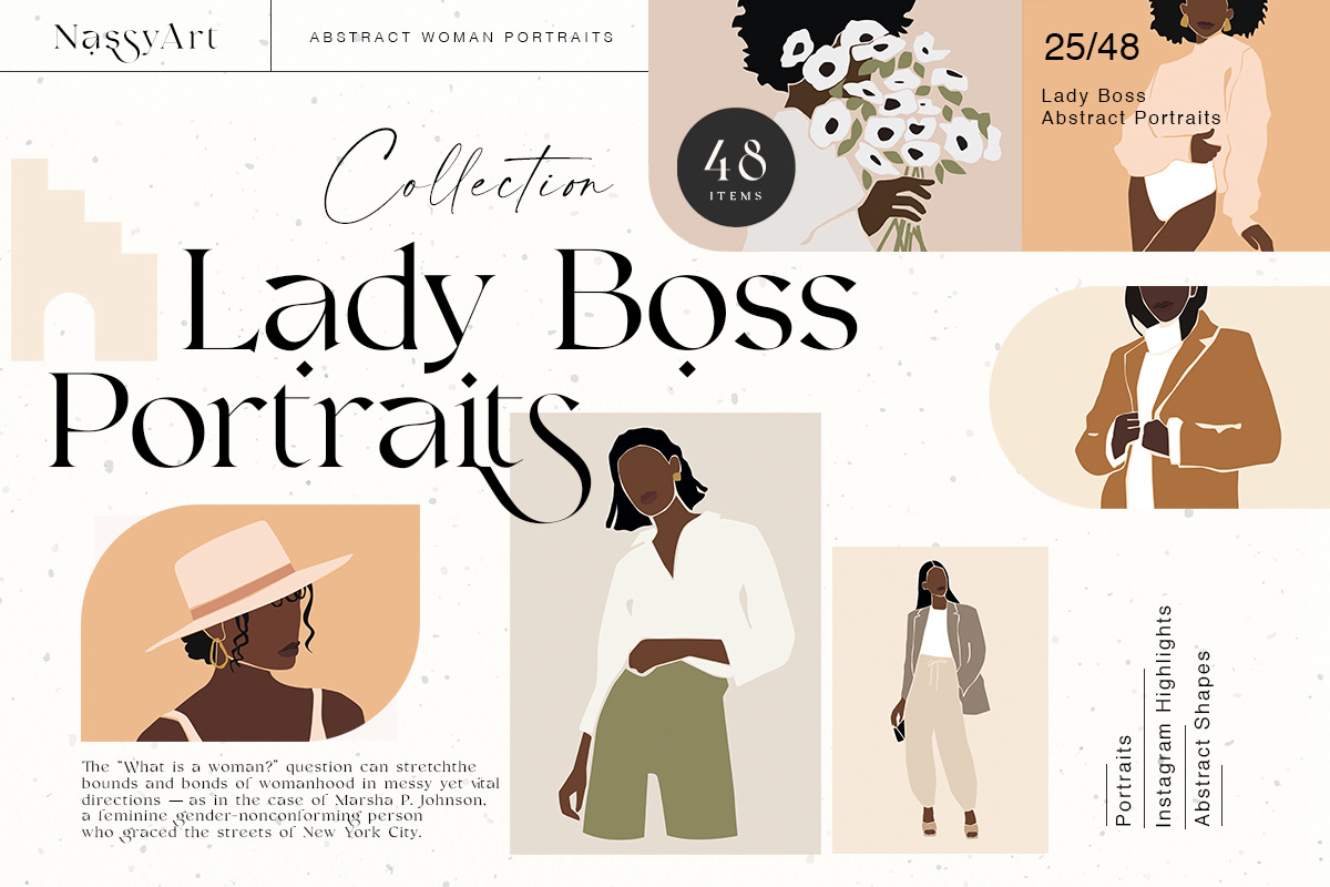 Lady Boss Woman Abstract Portraits
