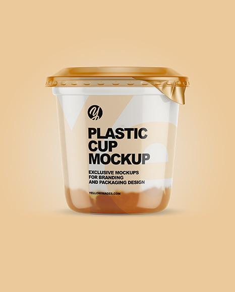 Plastic Cup with Yogurt and Apricot Jam Mockup