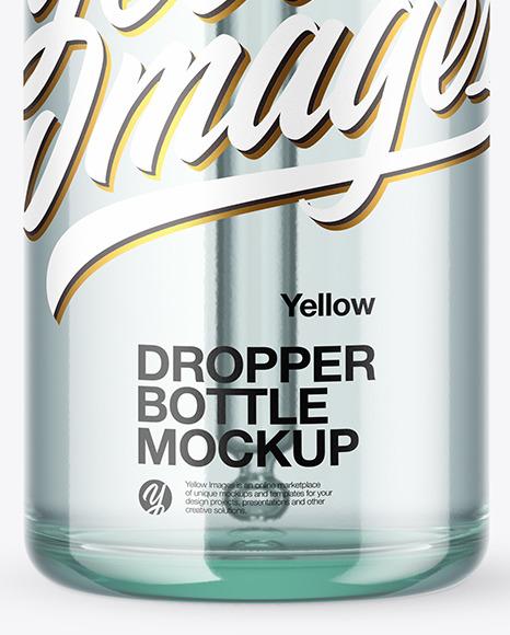 100ml Blue Glass Dropper Bottle Mockup