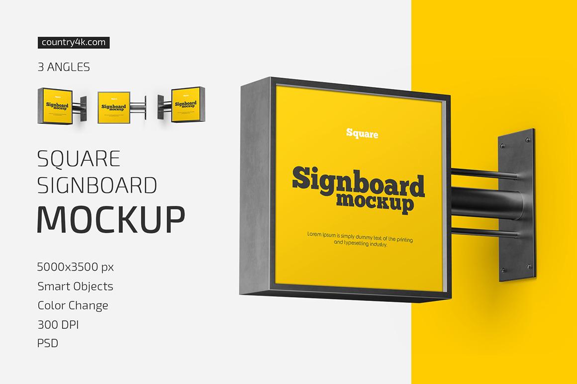 Square Signboard Mockup Set