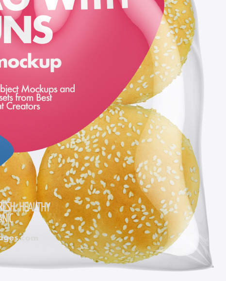 Bag with Burger Buns Mockup