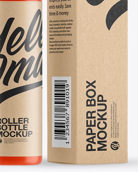 Matte Roller Bottle with Kraft Box Mockup