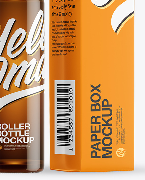 Amber Glass Roller Bottle with Box Mockup
