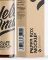 Amber Glass Roller Bottle with Kraft Box Mockup