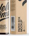Dark Amber Glass Roller Bottle with Kraft Box Mockup